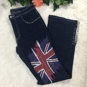 Revolt Studded Fringed British Flag split Hem Jean
